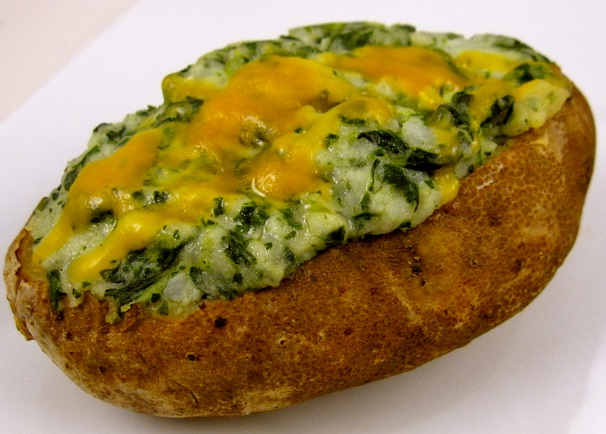 Spinach and Cheddar Twice Baked Potatoes